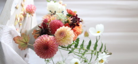 Create a bowl of flowers using sustainable techniques