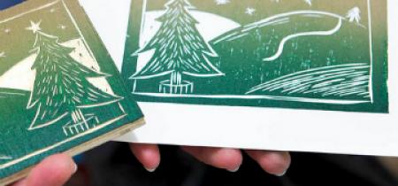 Woodcut Printed Christmas Cards Tues 27 Nov 2018
