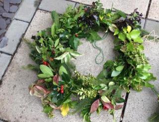 Christmas wreath-making