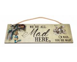 Alice in Wonderland wooden hanging panel