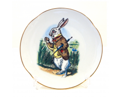 Alice in Wonderland Fine Porcelain Souvenir Plate - White Rabbit