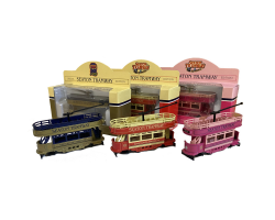 All 3 Special Edition Tram: Gold, Pink & Red. Corgi Image