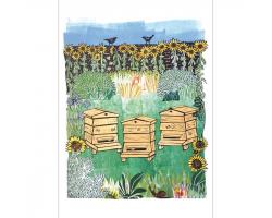 Beehives & Blackbirds greetings card