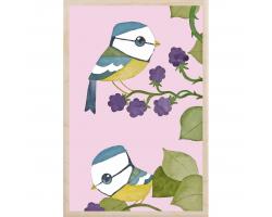Blue Tits & Blackberries Wooden Postcard