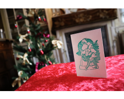 Handprinted A6 Christmas Card - Father Christmas (Green)