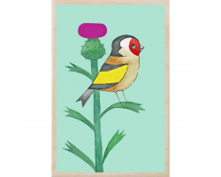 Goldfinch & Thistle Wooden Postcard