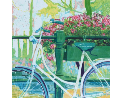 White Bike & Pink Geraniums greetings card