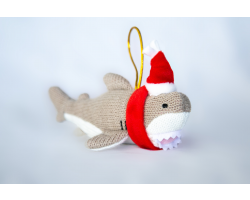 Knitted Shark Christmas Decoration