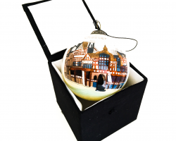 Chester Rows White Glass Bauble