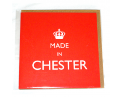 "Red ""Made in Chester"" Greetings Card"