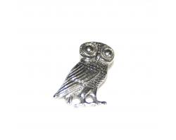 Roman Owl Pin Badge - Silver