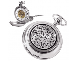 Never Ending Celtic Knot Pewter Mechanical Skeleton Pocket Watch