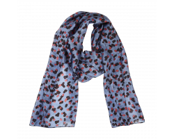 Painterly pink and blue silk scarf