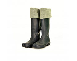 Welly warmer - green/herringbone M/L