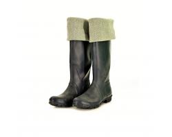 Welly warmer - green/herringbone S/M